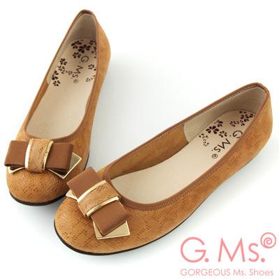 G.Ms. MIT系列-印花圖騰羊皮飾釦蝴蝶結豆豆娃娃鞋-駝色