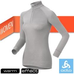 【瑞士 ODLO】WARM EFFECT 女高領半門襟專業機能型銀離子保暖內衣/淺灰