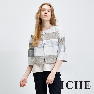 ICHE 衣哲 立體拼接寬袖羊毛百搭短版外套