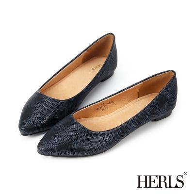 HERLS 名品質感 內真皮金屬蛇紋尖頭平底鞋-藍色