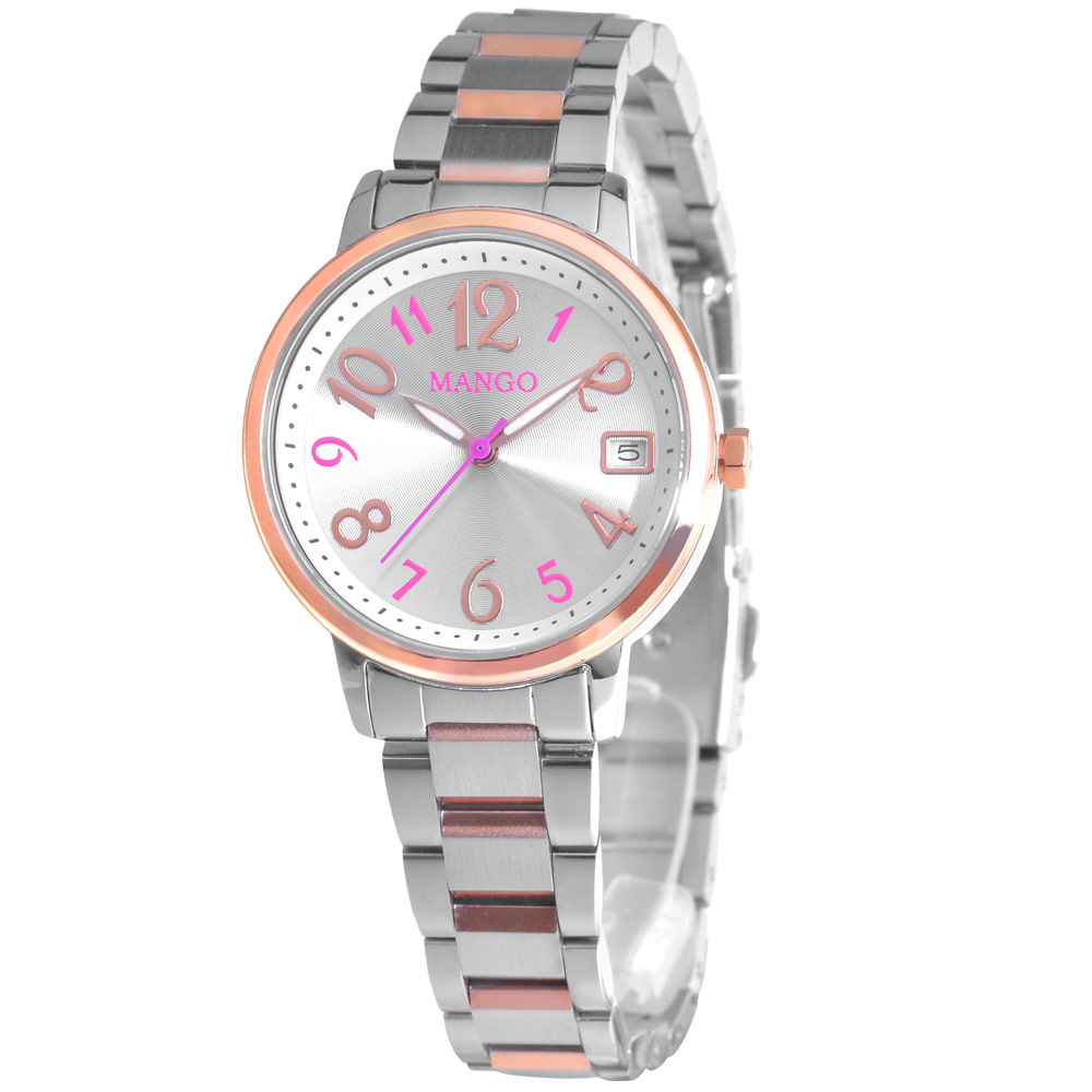 MANGO 俏麗派對不鏽鋼時尚腕錶-銀/30mm