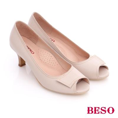 BESO-簡約知性-素色真皮縫線窩心魚口跟鞋-米