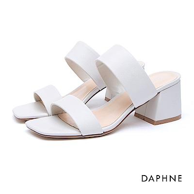 達芙妮DAPHNE 涼鞋-寬版一字帶後空馬蹄跟涼鞋-白