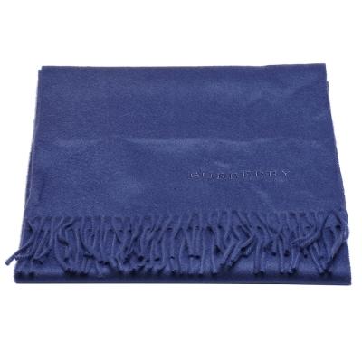 BURBERRY 經典品牌字母刺繡羊絨圍巾(薊藍)