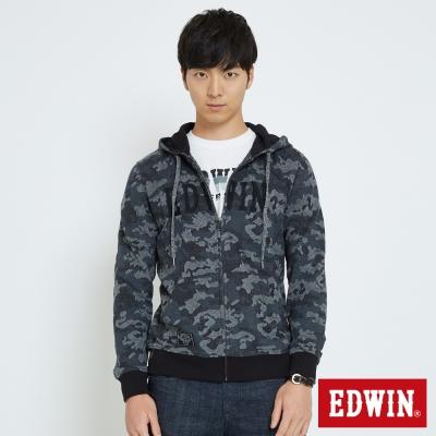 EDWIN 迷彩修紋連帽拉T外套-男-黑色