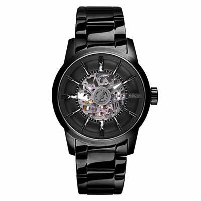 RELAX TIME鏤空機械腕錶(RT-38J-6)-黑X黑/45mm