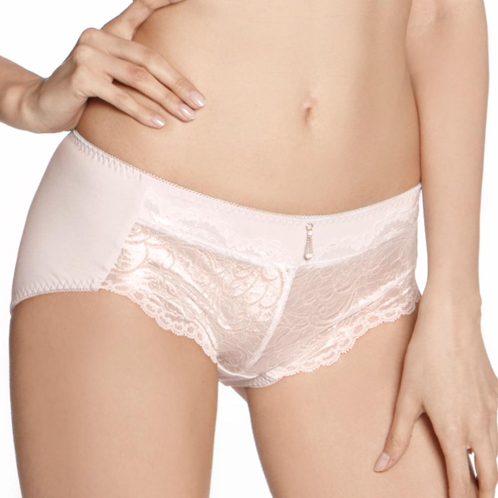 LADY 維納斯系列 蕾絲中腰平口內褲 (螢亮粉)
