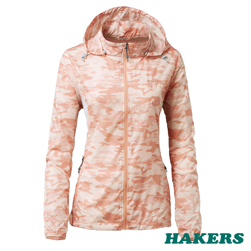 【HAKERS 哈克士】女-輕量防風外套(蜜橙色迷彩)