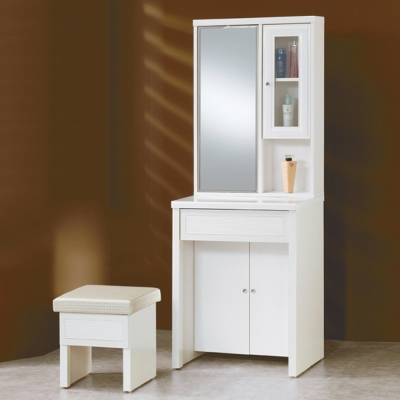AS-巴倫2尺烤白色旋轉鏡化妝桌-60x45x167cm