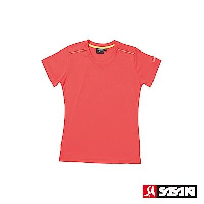 SASAKI 長效性吸濕排汗功能圓領短衫-女-珊瑚紅/豔黃