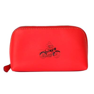 COACHXDISNEY聯名款紅色全皮打檔車MICKEY梯型化妝包(中)