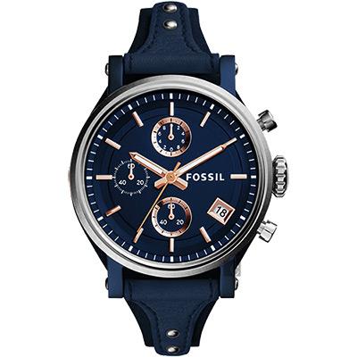 FOSSIL Original Boyfriend 時尚計時腕錶(ES4113)-深藍