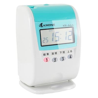 KRONE KR-666 九針點矩陣時尚/單色/液晶顯示打卡鐘