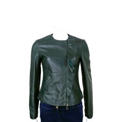 MARELLA 深綠荷葉造型無領羊皮衣外套