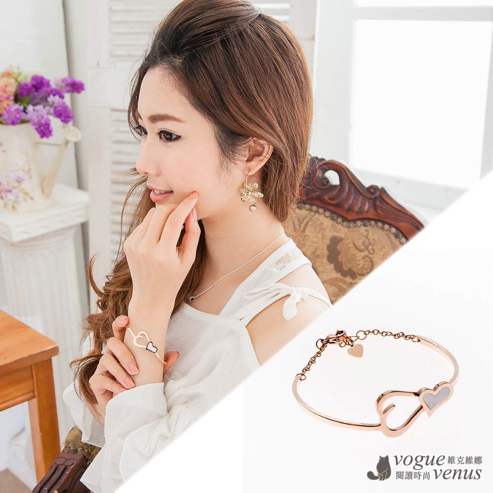 維克維娜 心鎖珠簾,純金色雙心簍空美韓系手環
