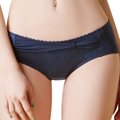 思薇爾 幾何密碼系列M-XL蕾絲低腰平口內褲(紳士藍)