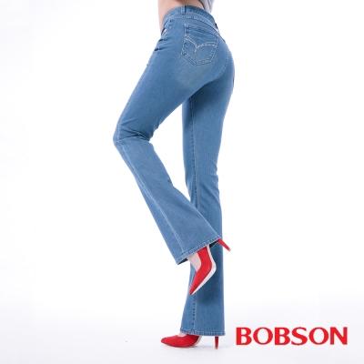 BOBSON   女款膠原蛋白小喇叭美肌褲-淺藍