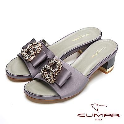 CUMAR經典時尚-寳石水鑽裝飾粗跟涼鞋-深灰