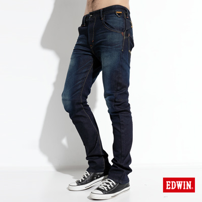 【EDWIN】大尺碼 E-F ZERO伸縮中直筒牛仔褲-男款(原藍磨)
