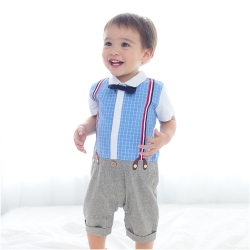 baby童衣 連身衣 短袖襯衫吊帶爬服 60242