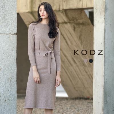 東京著衣-KODZ秋冬爆款顯瘦修身質感設計針織長洋裝-S.M.L共二色