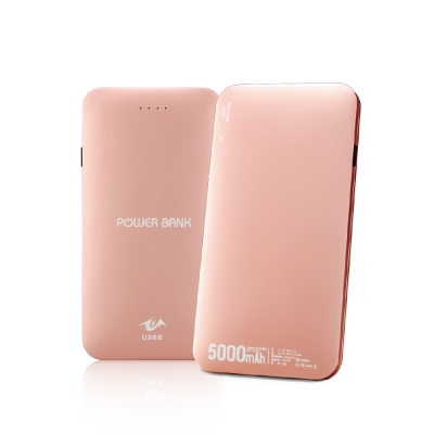 USEE 薄型鋁合金5000mAh行動電源-玫瑰金UPE5000-RG