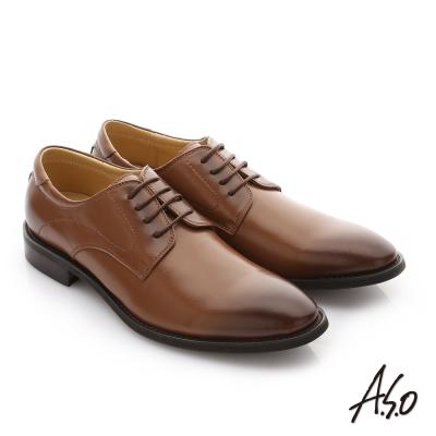 A.S.O 職人通勤 經典素面尖頭德比紳士鞋 茶色