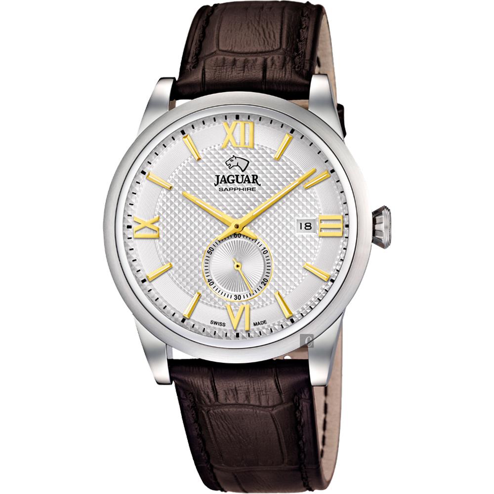 JAGUAR積架 Acamar 小秒針紳士手錶-銀x金時標x咖啡錶帶/42.5mm