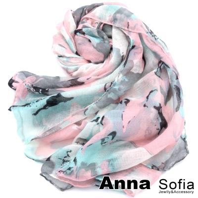 AnnaSofia-花繪馨香-加大加寬圍巾-綠粉系