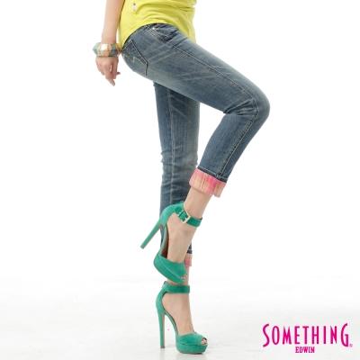 SOMETHING 八分褲 剪接格子牛仔褲-女-中古藍