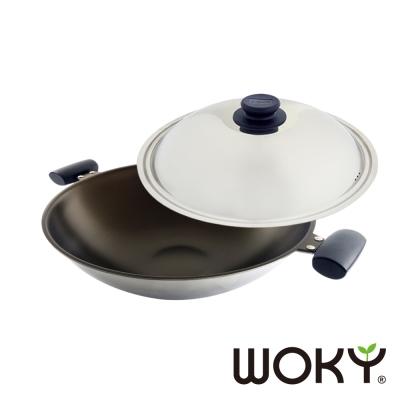 WOKY沃廚-晶砂陶瓷專利不鏽鋼炒鍋39cm-贈不