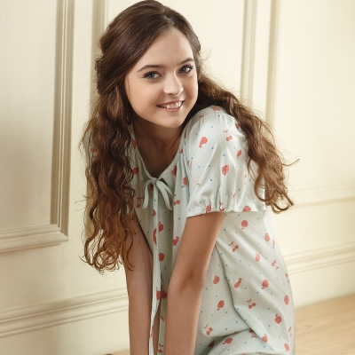 羅絲美睡衣 - 繽紛紅蘋短袖洋裝睡衣 (繽紛綠)