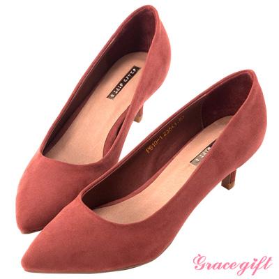 Grace gift-彈性減壓絨布尖頭低跟鞋 磚紅