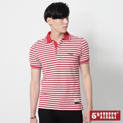 5th STREET 條紋短袖POLO衫-男-紅色