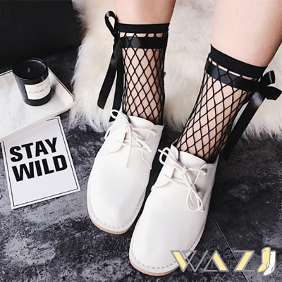 Wazi-日韓蝴蝶結綁帶網襪 (1組兩入)