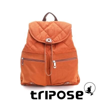 tripose 限量暖款-英倫時尚菱格尼龍後背包-(大) 蘭姆橘