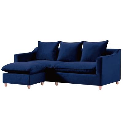 L型沙發-萊蒂-絲絨布獨立筒沙發-三人-凳-品家居