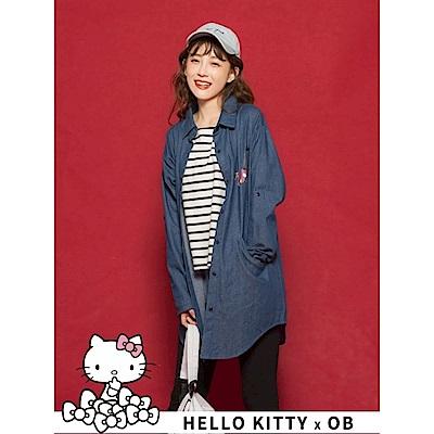 BEAUTY系列KITTY高含棉仿牛仔襯衫-OB大尺碼