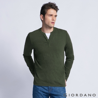 GIORDANO 男裝簡約素色羅紋亨利領長袖T恤 - 08 雪花深淵綠色