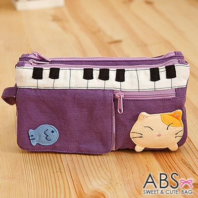 ABS貝斯貓 - 鋼琴貓咪拼布雙層拉鍊錢包 長夾88-176 - 薰紫