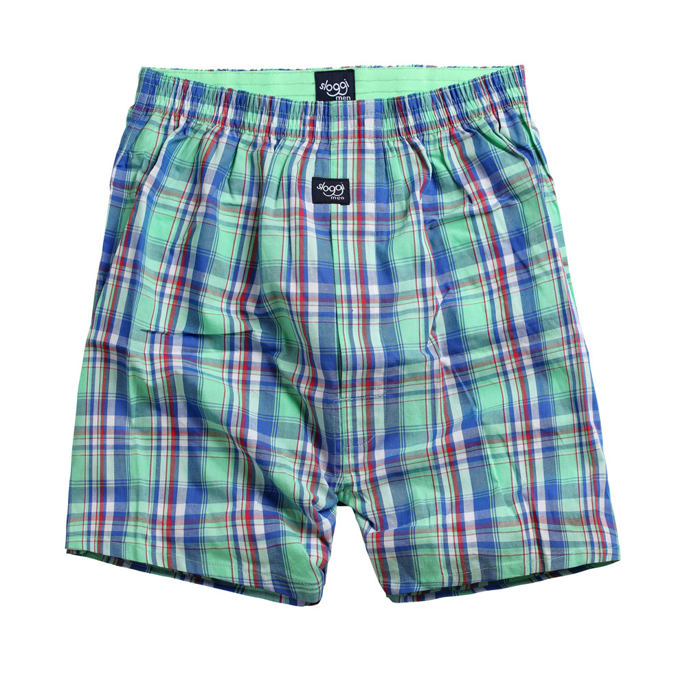 sloggi Men- 格紋平織寬鬆平口褲M-XXL (藍綠)