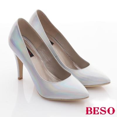 BESO-玩美性感-全素面經典尖頭高跟鞋-銀