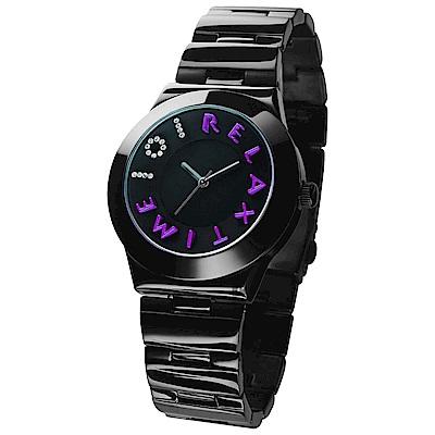 RELAX TIME 101獨家設計品牌手錶-IP黑x紫時標/38mm