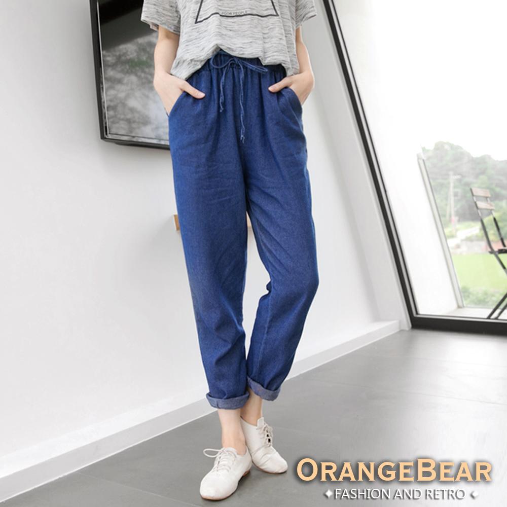 OrangeBear-牛仔面料彈性腰頭長褲.共二色