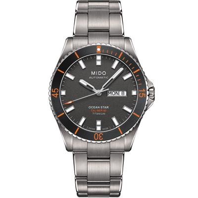 MIDO 美度 海洋之星 動力80H鈦金屬潛水機械錶-灰/42mm