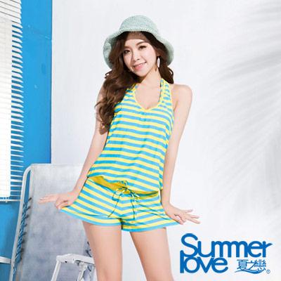 夏之戀SUMMERLOVE 比基尼泳衣 亮麗條紋連身褲三件式泳衣 彩色條紋