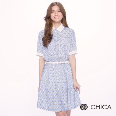 CHICA 復古文青滿版手繪喵喵短袖洋裝(2色)