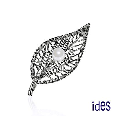 ides愛蒂思 淡水貝珠8mm設計款胸針項鍊/知性(兩用)