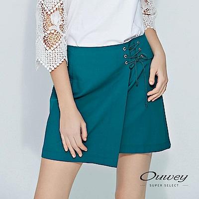 OUWEY歐薇 造型馬甲繫繩剪接褲裙(綠)