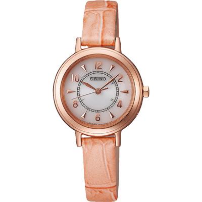 SEIKO 都會優雅 太陽能電波腕錶(SWFT014J)-粉橘/27mm